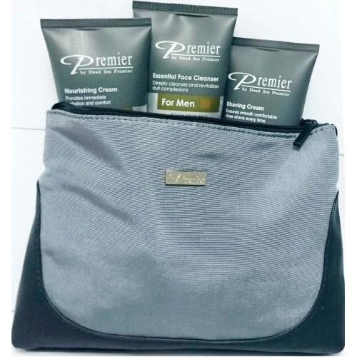 Dead Sea Premier Kit para Hombres: Crema para Afeitar, Crema Nutritiva, Limpiador
