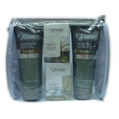 Dead Sea Premier Mar Muerto Kit para Hombres --Crema Nutritiva, Crema para Afeitar, 2 x Jabones
